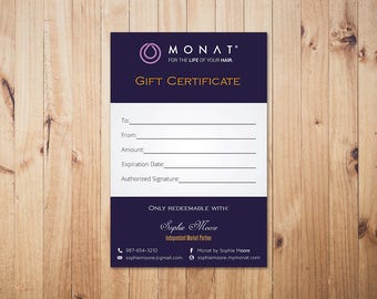 PERSONALIZED Monat Gift Certificate, Monat Gift Card, Custom Monat Hair Care Card, Fast Free Personalization, Monat Business Cards MN09