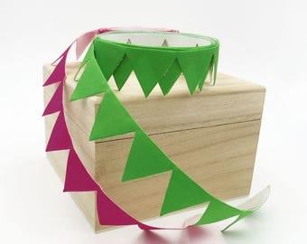 Adhesive Flag Banner Ribbon. 1 inch. Craft Supply. Card Making. Gift Wrapping. Pink. Green