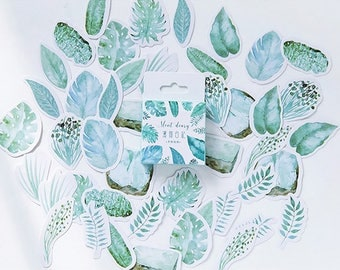 45PCS, Green Leaf Seal Stickers, Plants Leaves Sticker, Mint Sticker, Baking Seal, Gift Wrapping, Scrapbooking, Diary Deco