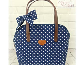 Handle bag - DOTTI - cotton polka dot, Navy/white