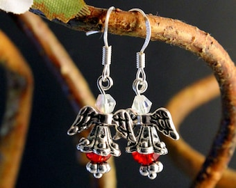 Angelic Dangle Earrings in Red