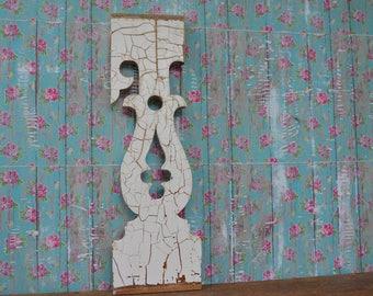 Vintage Porch Baluster White Crazed Paint Wood Architectural Salvage Farmhouse