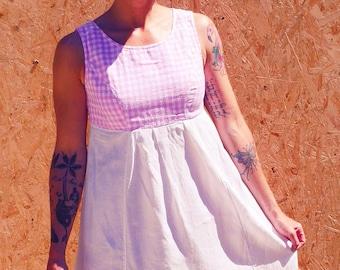 Dress Vintage gingham handsewn vintage 1950's french vintage