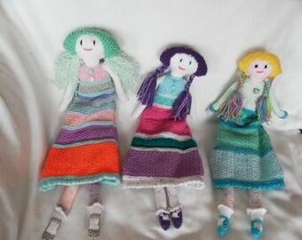 Hand Knitted Long Leg Jessica Dolls