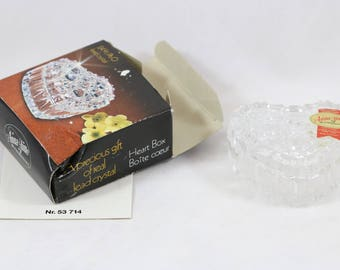 "ANNA HUTTE Bleikristall 24% Lead Crystal Heart Shaped 2.5x2.5x1"" Trinket Box Germany"