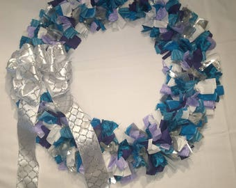 Teal/Blue, Purple and White Cloth Wreath