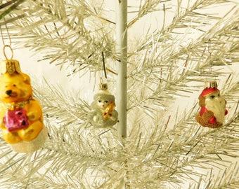130 cm 43 overall height vintage shiny christmas tree with wooden - Vintage Silver Christmas Tree