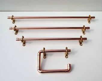Copper Pipe Toilet Roll Holder & Towel Rail (Various Sizes)