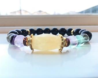 Golden quartz, Amethyst and Black obsidian