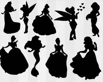 Princess SVG Bundle, princess clipart, disney princess cut files, svg files for silhouette, files for cricut, svg, dxf, eps, cuttable design