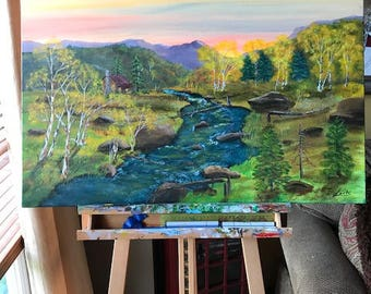 Mountain river, Acrylic Painting, Landscape Nature