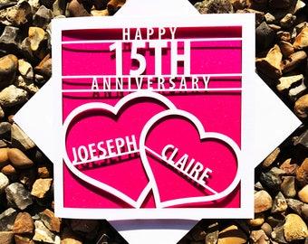 Personalised, Happy 15th Anniversary, Happy Anniversary, 15th Anniversary, Laser Cut, Anniversary Card, Love Hearts,15th Wedding Anniversary