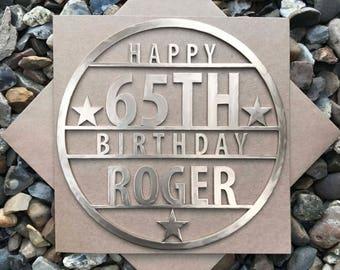 Personalised Happy 65th Birthday Card, Happy 65th, 65th Birthday Cards, Laser Cut, Birthday Card, Personalised card, Magnet Birthday Card