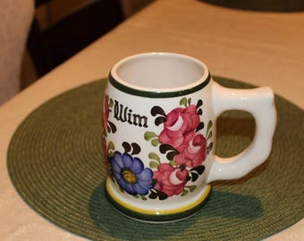 Vintage porcelain German stein-handpainted''WIM''