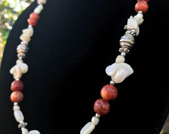 White Shell and Red Coral Beaded Neckalce with Silver Tone Barrel Clasp