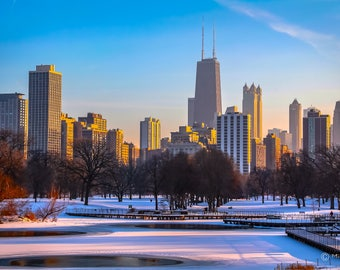 Chicago Skyline in the winter from Lincoln Park