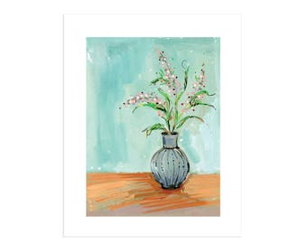 Vase With Pink Flowers Art Print