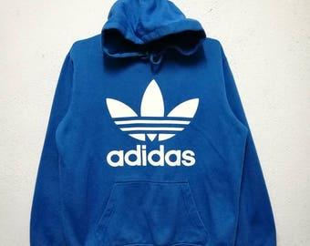 Rare Adidas 3 Stripes Big Logo Hoodie Hooded Sweatshirt