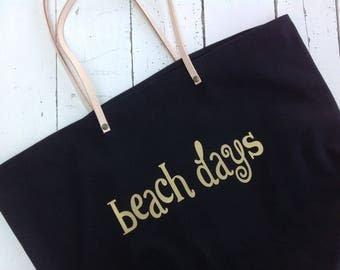 beach bag canvas leather straps