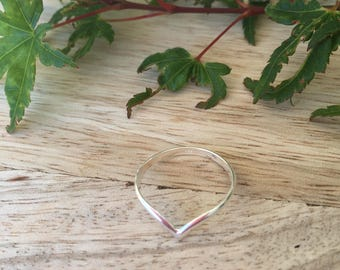 convex designed sterling silver ring