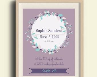 Custom Birth Announcement Prints, Nursery Art, Nursery, Kid's Room, Baby Room, Digital Download