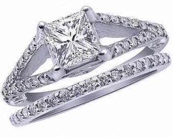 Princess Diamond Engagement Ring Wedding Band Set 1.40ct