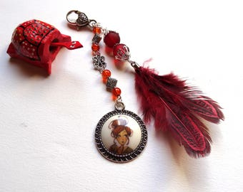 Porcelain red bag charm handcrafted femme au chignon feather Red