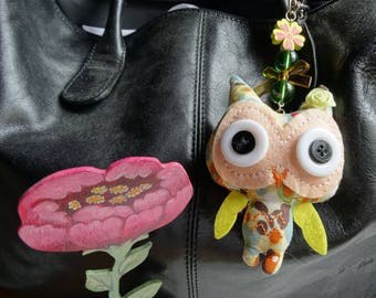 Jewel Briefcase or backpack OWL keychains fabric - kids gift idea