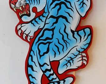 TATTOO TIGER Painted Sign