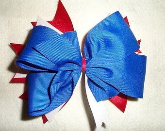 Large Red White and Blue 7 inch triple layer Hair Bow