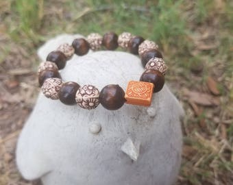FOR HIM || Henna Inspired || Wooden Stackable Meditation Bracelet ||