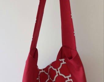 TOTE BAG handmade red fabric reversible should bag