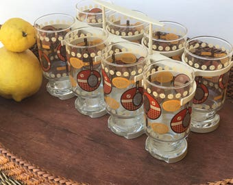 Anchor Hocking Vintage Drinking Juice Glasses with Plastic Caddy | Tennis Racket Glasses | Tennis Motif Juice Glasses | Wimbledon glasses