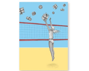 Birthday Card Female Volleyball – Volley Attack