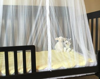 Mosquito Net Bed Canopy - Ultra Soft White Netting with Unique Zipper Opening - DIY Princess Canopy ready to be Embellished