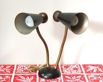 Retro Atomic Cone Shape Double Gooseneck Desk Lamp
