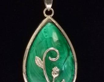 Teardrop-shaped malachite pendant, Malachite cabochon pendant, Decorative malachite pendant