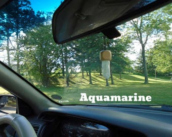 Aquamarine mounted on custom made wood for your rear view mirror or interior window, Protection, Aquamarine infused w Reiki