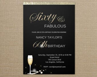 60 and Fabulous Birthday invitation, Sixty and Fabulous Invitation, 60th Birthday Invitation Templates, 60 and Fabulous Birthday