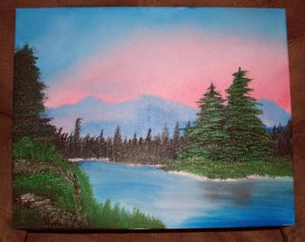 """16x20"""" Oil Painting of a stream with trees and mountains in the background"""