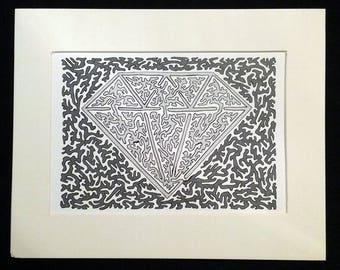 Black Ice 1.0 - Original Artwork, Diamond, Light and Dark Gray