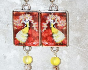 dangling beads and rectangular cabochon