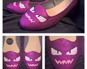 Custom glittered flat shoes request