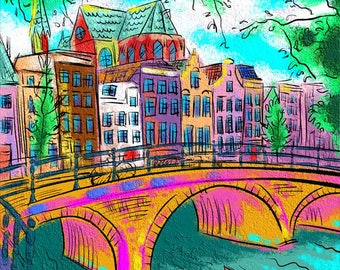 Artwork on canvas Amsterdam