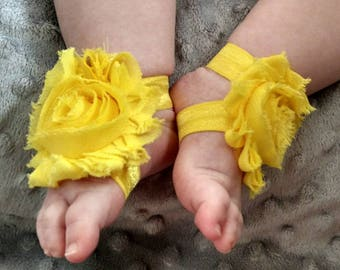 Yellow Barefoot Baby Sandals