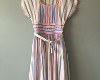 1950s Pink Blue White Cotton Stripe Dress, Full Pleated Skirt Day Dress, New Old Stock, Size Small