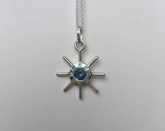 Ship Wheel Necklace / Blue Sapphire