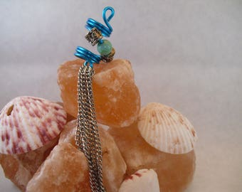 Blue Wire Wrapped Dread Bead with silver dangly chain