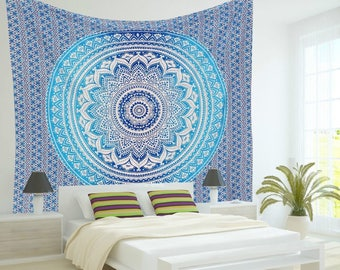 Ombre Indian Wall Hanging Hippie Mandala Tapestry Bohemian Bedspread Ethnic Dorm Decor, Blue