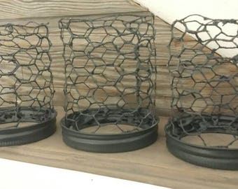 Country Farm House Style Chicken Wire Candle Holders LED Candle Display